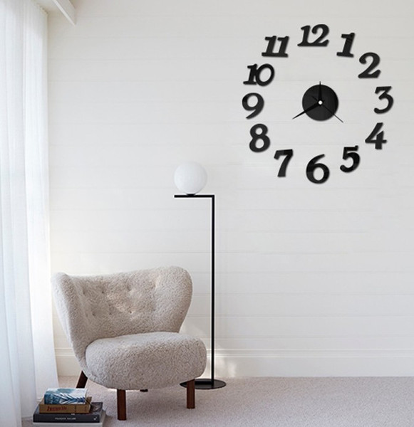 best selling Wholesale- free shipping new Free Shipping DIY Clock Self Adhesive Decal Modern Wall Digit Number Room Interior Decoration Clock