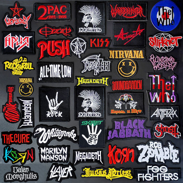 best selling Customize Patches BAND DIY Clothe Embroidery PUNK MUSIC Patch Applique Ironing Clothing Sewing Supplies Decorative Badges Patches
