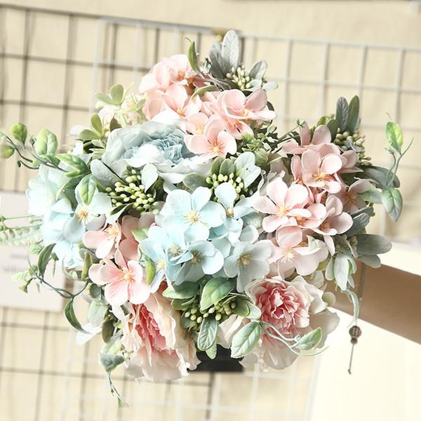 Artificial Flowers Hydrangea Silk Bouquet for Decoration Camellia Artificial Peony Rose Wedding Home DIY Decor Fake Flower White