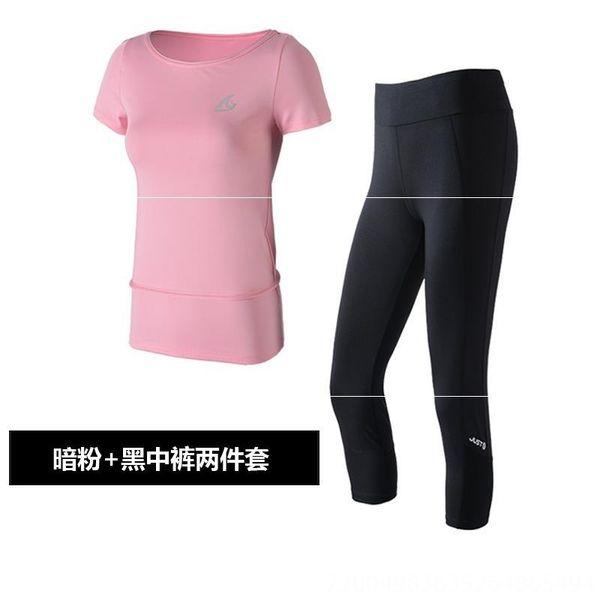 Rosa oscuro y pantalones Capri Negro Dos-piec
