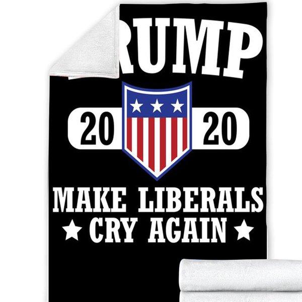top popular 25style Trump 2020 Blankets 200*150cm 3D Printed Trump Blanket 2 Layer Winter Throw Blanket Make America Great Again Fleece Shawl GGA3638-11 2021