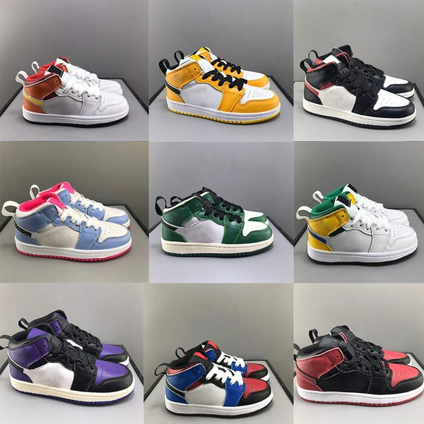 Little Kids Shoe Mismatch Theme I 1s Court Purple Basketball Shoes Baby Mid Come Fly With Me Toddler Coral Yellow Toe US:6C-3Y Sneaker