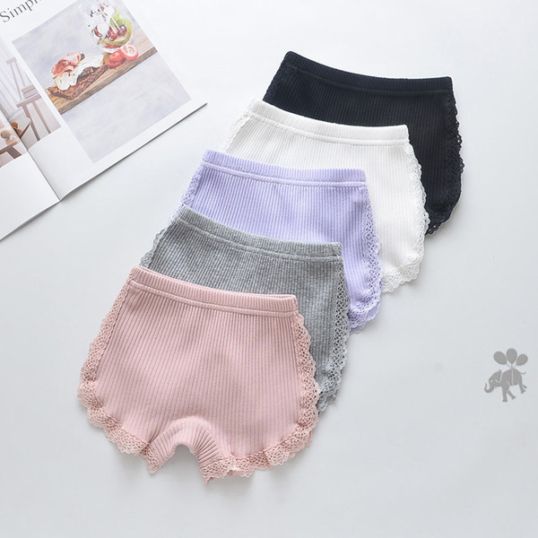 top popular 100% Cotton 2020 New Girls Lace Shorts Top Quality Pink Girl Safety Pants Underwear Shorts Cute Briefs For Kids 3-13 Years Old 2021