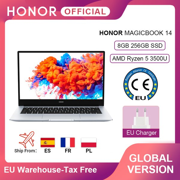 top popular Global Version Honor MagicBook 14 Laptop 14.0'' FHD AMD Ryzen 5 3500U 8GB 256GB SSD 65W Fast Charger Windows 10 Laptops 2020