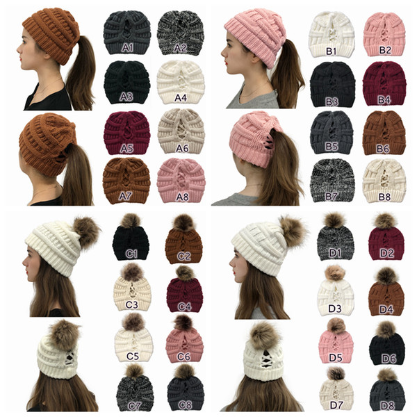 top popular Pom Pom Criss Cross Ponytail Beanie 32 Styles Winter Warm Wool Knitted Hat Women Cross Ponytail Beanie Festive Party Hats CYZ 2021