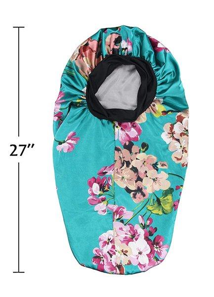 Blau mit Blumen-