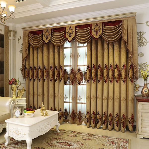 best selling European and American high quality custom  villas elegant fresh living room curtains embroidered curtains kitchen