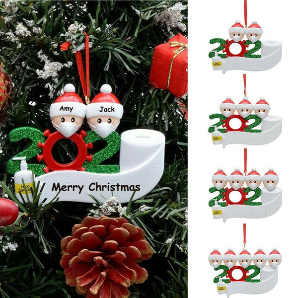 best selling Christmas Ornament DIY Greetings 2020 Quarantine Christmas Birthday Party Pandemic Social Distancing Christmas Tree Pendant Accessories