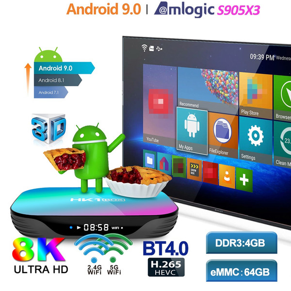 best selling HK1 Amlogic S905X3 Android 9.0 TV BOX 4GB+32GB 128GB 8K caja de tv android Dual Wifi 2.4G+5G PK X96 mini T95
