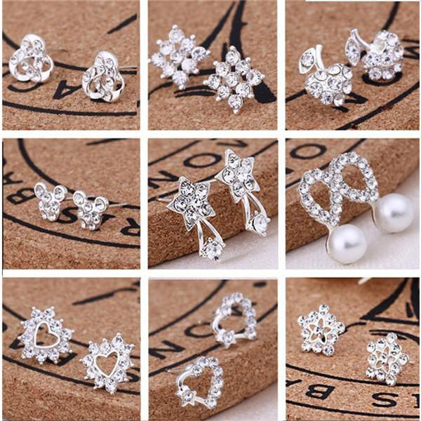 top popular Hot sell 45 styles creative ear studs fashion snowflake beer crystal rhinestone pearl ear studs new pearl earrings . 2020