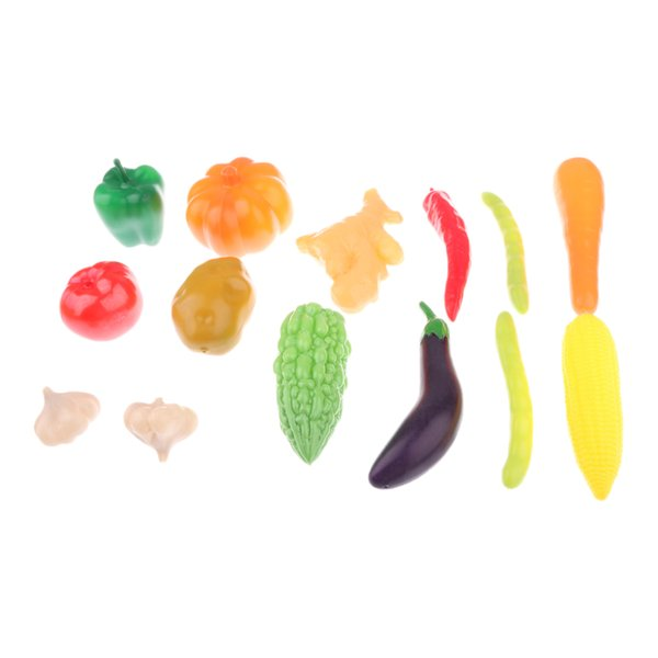 top popular 14 Pcs Plastic Kitchen Food Fruit Vegetable Toys Children Educational Toys 2021