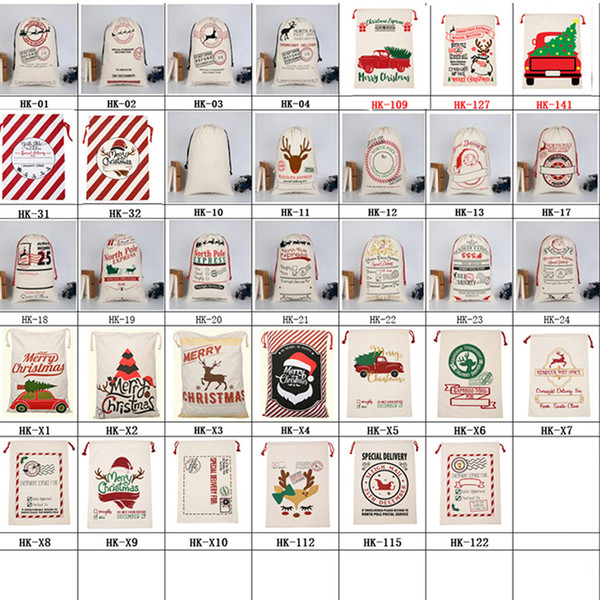 best selling New Christmas Gift Bag with Reindeer Santa Claus Sack Cotton Environmental Protection Bundle Mouth Canvas Bag Moose Christmas bag