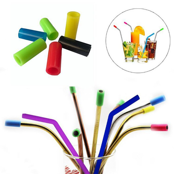 top popular FDA food quality straw mouthpiece Straws Reusable Metal Straws With Silicone Tips Stainless steel straw mouth straw sleeve brush Q20M9 2021