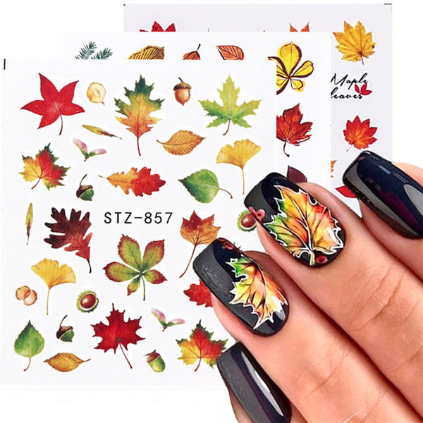 best selling Nail Art Stickers Fall Yellow Maple Leaf Pumpkin Water Transfer Decals Sticker Foil Autumn Designs Manicure Tools For Nail Art Decorations