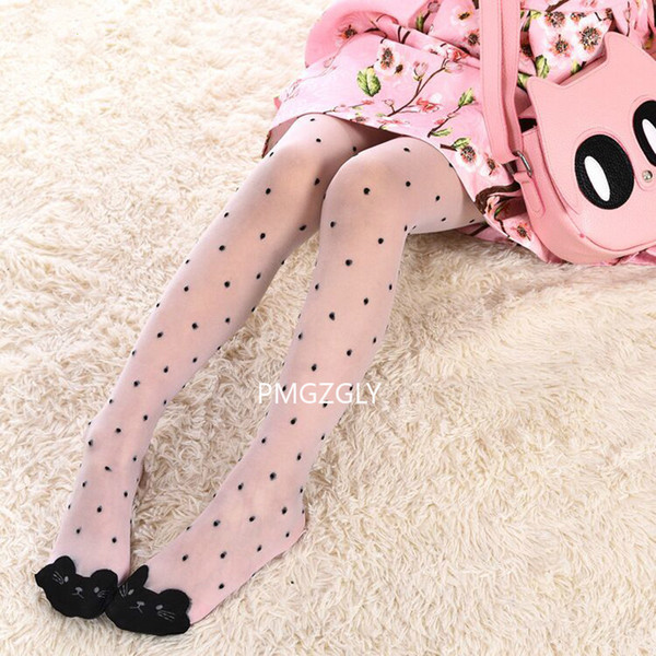 best selling Cute cat girl tights children's sheer stockings for girls kids baby pantyhose cartoon characters thin tight 2019 summer 1-9Y