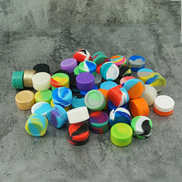 top popular 5ml Silicone Jars Dab Wax Container Concentrate Containers 5ml round Cigarette oil box 2021