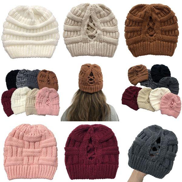 top popular Criss Cross Ponytail Beanie 16 Styles Women Winter Warm High Bun Knitted Skullies Cap Outdoor Skull Caps OOA9084 2021