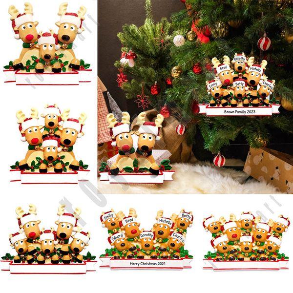 top popular Christmas Ornament DIY Family Name Blessings Pendant PVC Elk Christmas Tree Hanging Pendant Christmas Tree Decoration Supplies 2020