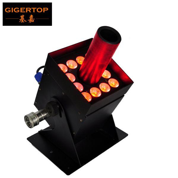 best selling Gigertop 12x3W Led CO2 Jet Equipment Stage Led Lighting Black Solenoid Valve Barndoor Case 7 DMX Channels 250W Power Freeshipping