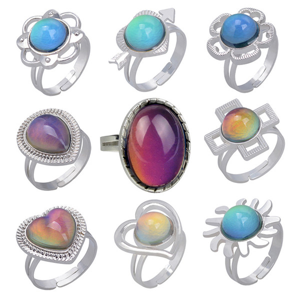best selling Retro Temperature Measurement emotion Ring sensing Changing Color Water Drop Heart Mood Ring women fashion hip hop jewelry will and sandy