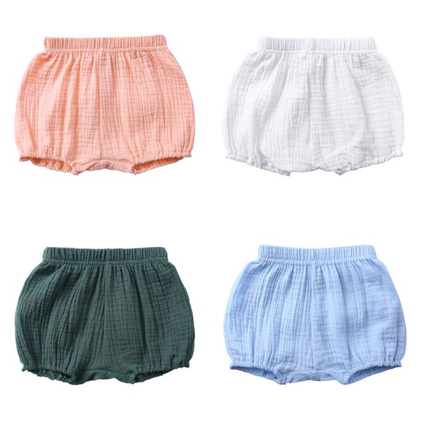 top popular Summer Kids Boys Shorts Solid Color Baby Girl Shorts Cotton Linen Bread short Pants Fashion Newborn Bloomers 6 Months-4 Years 2021