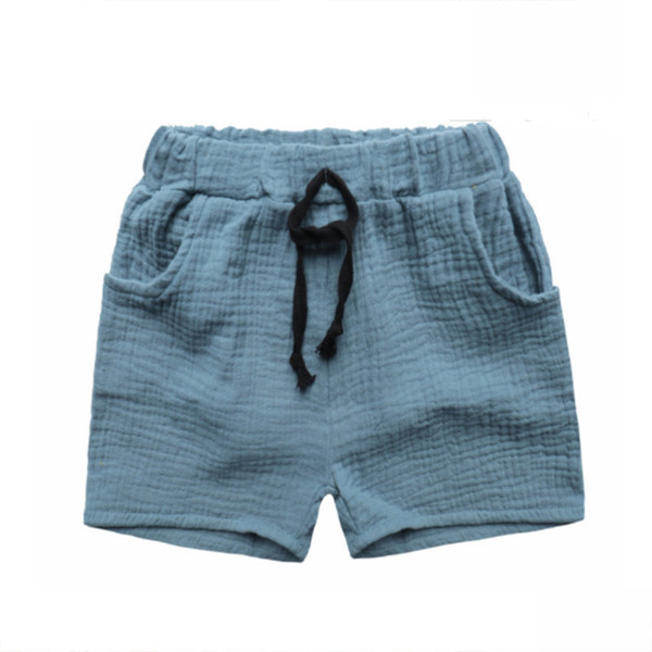 best selling 2020 Fashion Boy Clothes Girls Pants Kids Summer Trousers Children Pants for Baby Boys Shorts beach cheap solid linen 90~130