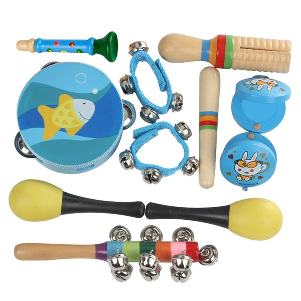 best selling Kids Musical Instrument Backpack Tambourine+Maracas+Finger Castanets+Waist Bells Early Learning Educational Toys