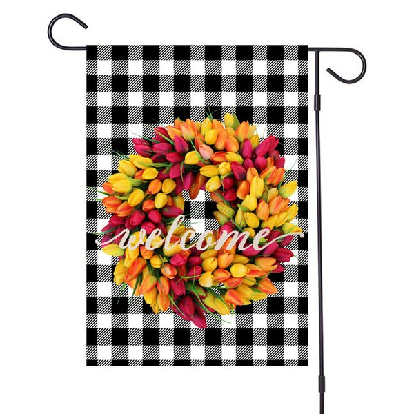 best selling Newest Merry Christmas Flax Garden Flags Xmas Garland Plaid Pattern Banners 47x32cm Hanging Banner Flags Party Outdoor Decoration D92506