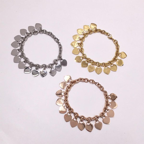 best selling New Fashion Gold Silver Rose gold heart charms chains Women Stainless PLEASE RETURN TO Heart charms Pulsera Bracelet 1pcs drop shipping