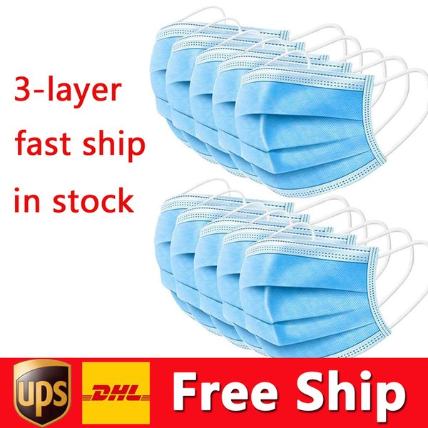 best selling DHL Free Shipping Disposable Mask Thick 3-Layer Face Mask Protection and Personal Health Mask with Earloop Mouth Face Sanitary Masks