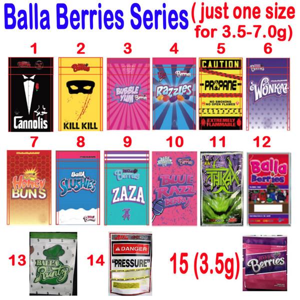 top popular Empty 3.5g 7.0g Balla Berries Packaging BAGS CANNOLIS BUBBLE YUM RAZZLES PROPANE WONKAZ ZAZA BALLA RUNTZ SLUSHIES PRESSURE THKAX PACKAGE BAG 2020
