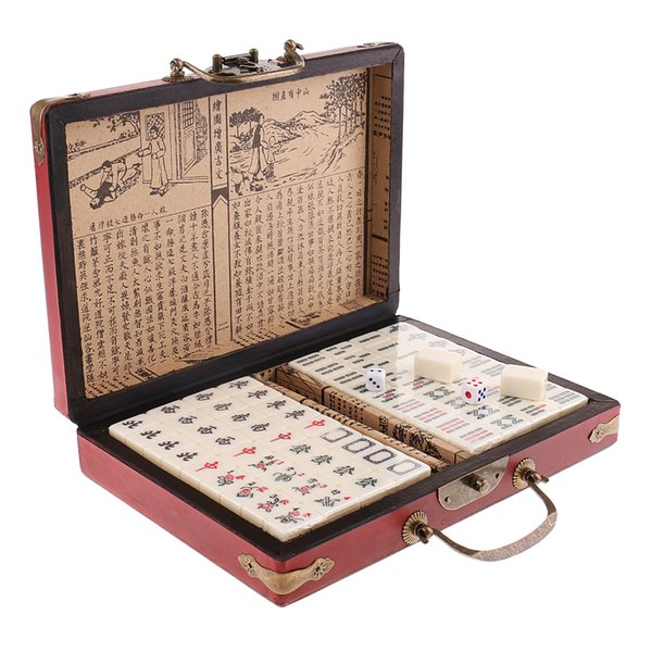 best selling Chinese Antique Mahjong Board Game 144 Mahjong in 23x16.2x4.5cm Wooden Box