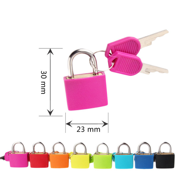top popular 30x23mm Small Mini Strong Metal Padlock Travel Suitcase Diary Book Lock With 2 Keys Security Luggage Padlock Decoration 8 Colors DBC BH4075 2021