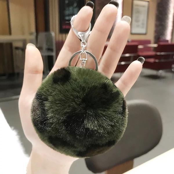 Yeşil leopar kürk topu