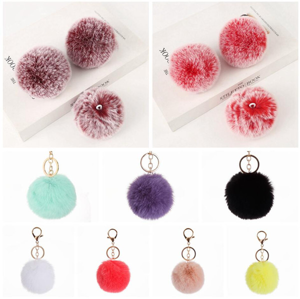 top popular 8cm Imitate Rabbit Fur Ball Keychain Pom Pom Car Handbag Keychains Decoration Fluffy Faux Rabbit Fur Key Ring Bag Accessories LJJP495 2021