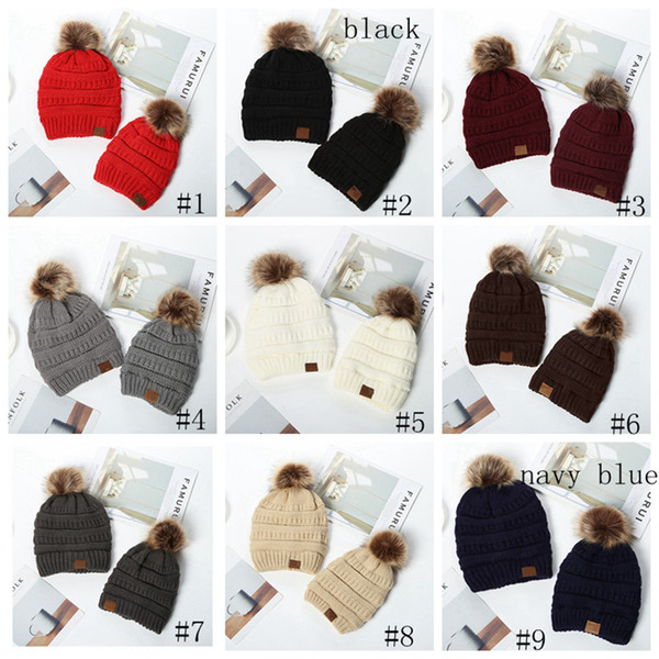 best selling Kids Adults Pom Poms Beanies Knitted Hat Thick Warm Winter Hat Soft Stretch Cable Knit Wool Hats Skullies Beanie Girl Ski Caps GGA3727