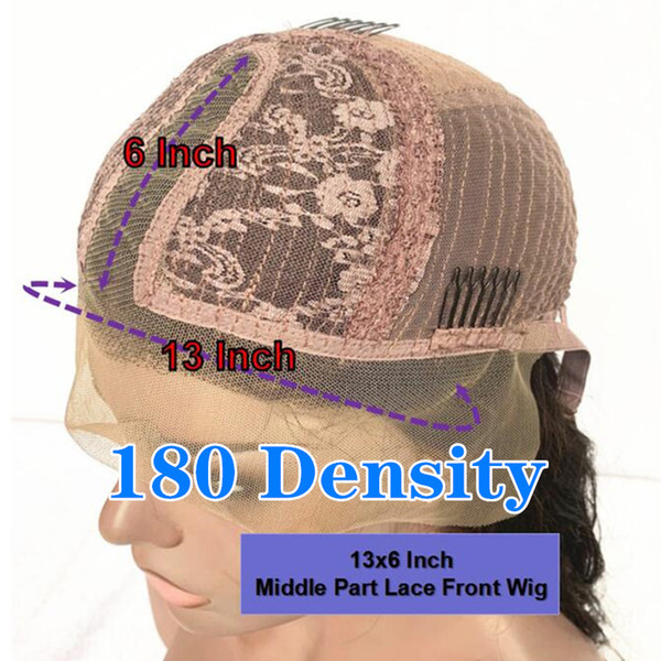 180 density13x6 중간 부분 가발