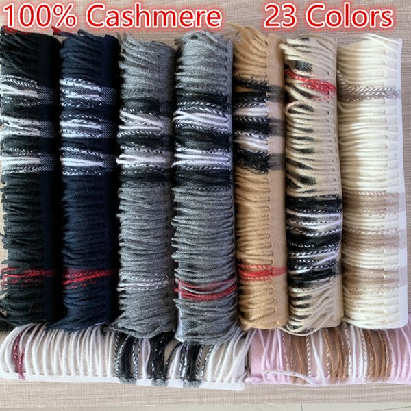 best selling New 2020 Fashion Winter Unisex 100% Cashmere Scarf For Men and Women Oversized Classic Check Shawls and Scarves Scarfs