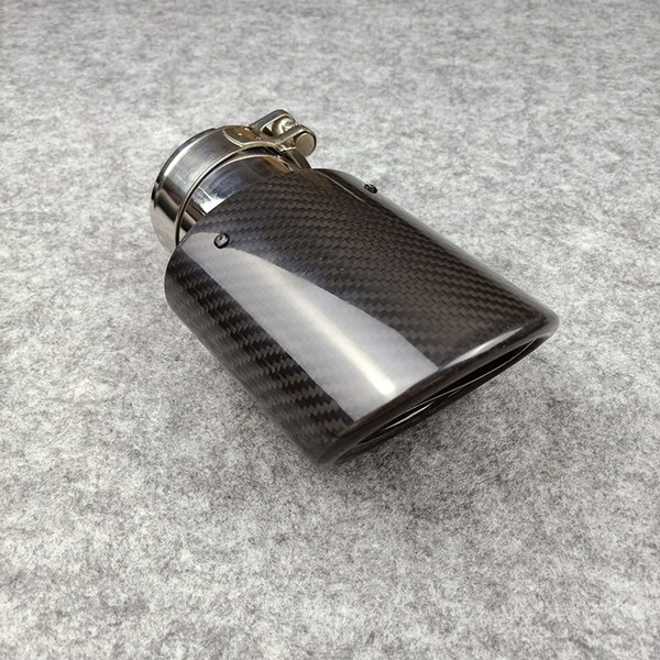 best selling One Piece Oval Model Akrapovic Car Exhaust Tips Glossy Carbon Fiber + Stainless Steel Tips Muffler End Pipes