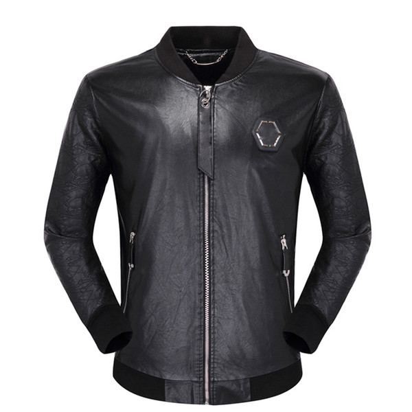 top popular Black Biker skulls Faux Leather Jackets for Men Coats Zipper Slim Fit Short hip hop Casual Motorcycle Coats Male Tops Fitness clothing M-3XL 2020