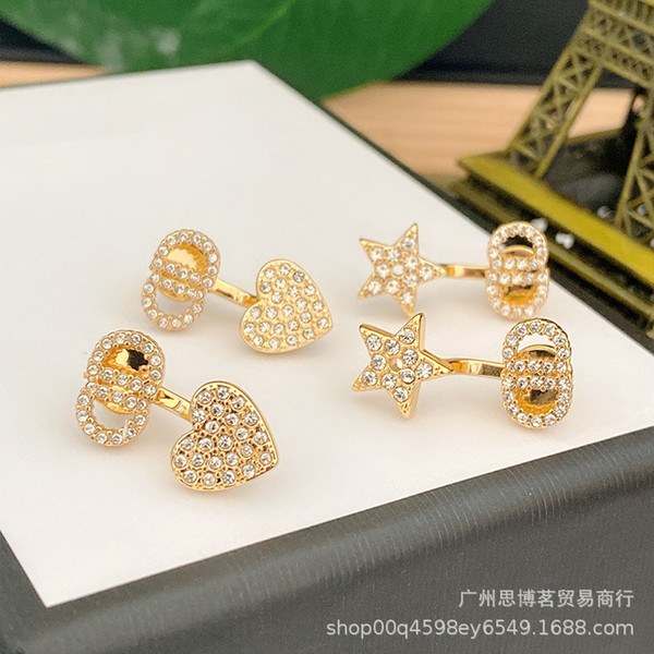 best selling 20 New Product D home CD earrings small full diamond with two earrings Japanese style earrings 925 silver needle love all-match