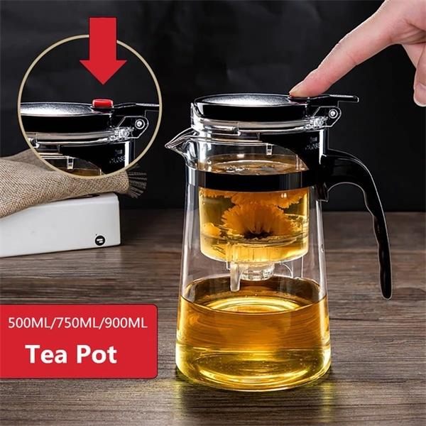 top popular Pots Heat Resistant Pot Infuser Chinese Kung Fu Set Kettle Coffee Glass Maker Convenient Office Tea Sets Cl200920 2021