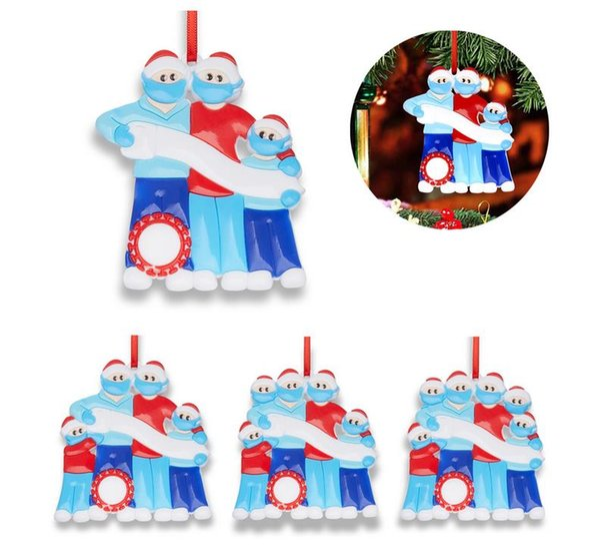 top popular Family DIY Handwritten Name Mask Snowman Christmas Tree Hanging Pendant Christma PVC Ornaments 2021
