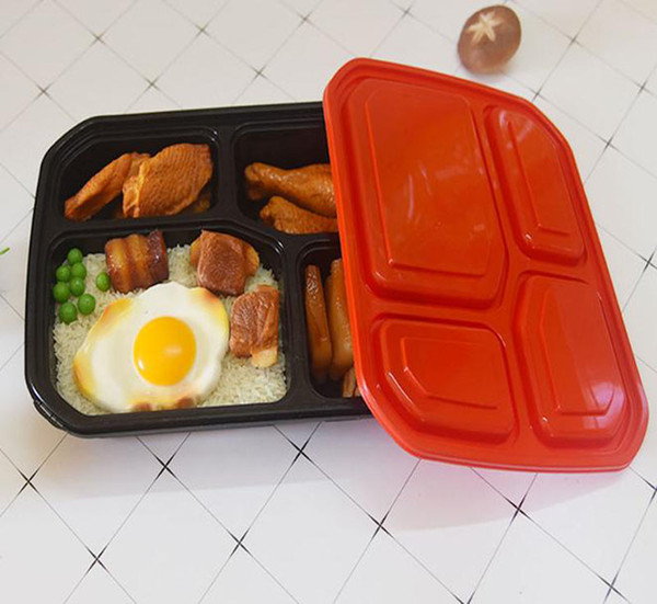 top popular 4 Or 5 Compartment Reusable Plastic Food Storage Packaging dinner boxes With Lids Disposable Take Out Containers Lunch Box Microwavable Supplies 2021