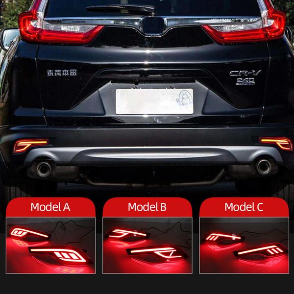 top popular 2PCS Reflector For Honda CRV CR-V 2017 2018 2019 LED Rear Bumper Light Rear Fog Lamp Auto Bulb Brake Light 2021