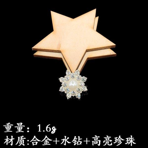 Colgar el corazón plateado plata perla de la flor
