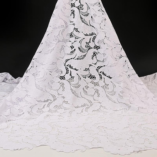 best selling White African Lace Fabric 2020 Embroidered Nigerian Laces Fabrics High Quality Lace French Cord Fabric For Women YA3500B-1