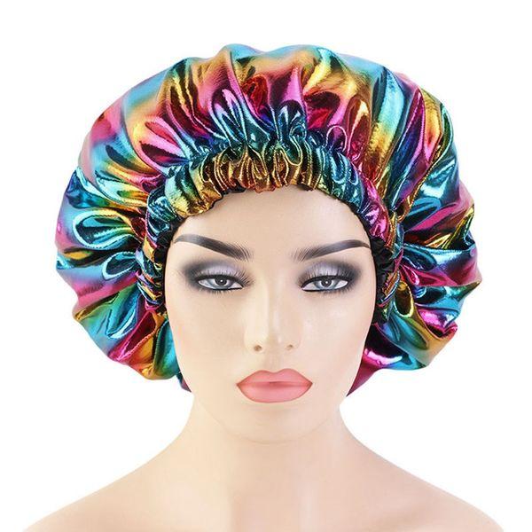 top popular Colorful Women Satin Night Sleep Cap Hair Bonnet Hat Silk Head Cover Wide Elastic Band 2021