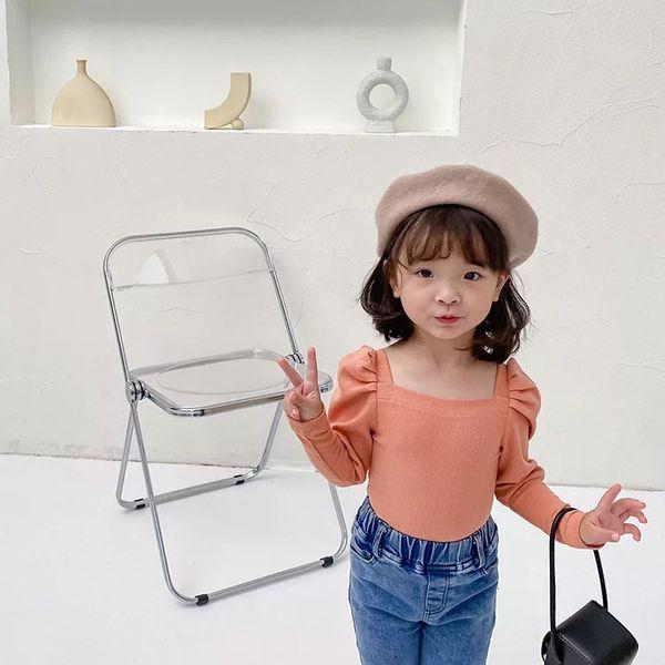 best selling New INS Little girls Newest Girls Puff Long Sleeve Blank Girls Korean Design T Shirt Kids Long Sleeve Tops