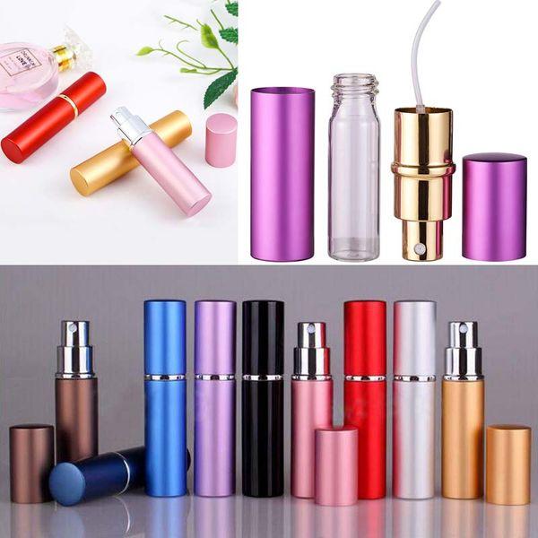top popular Smooth Aluminium Perfume Bottle 5ml Refillable Perfume Atomizer Travel Bottles Fragrance Spray Bottles Home Fragrances Bottles TQQ BH2185 2021